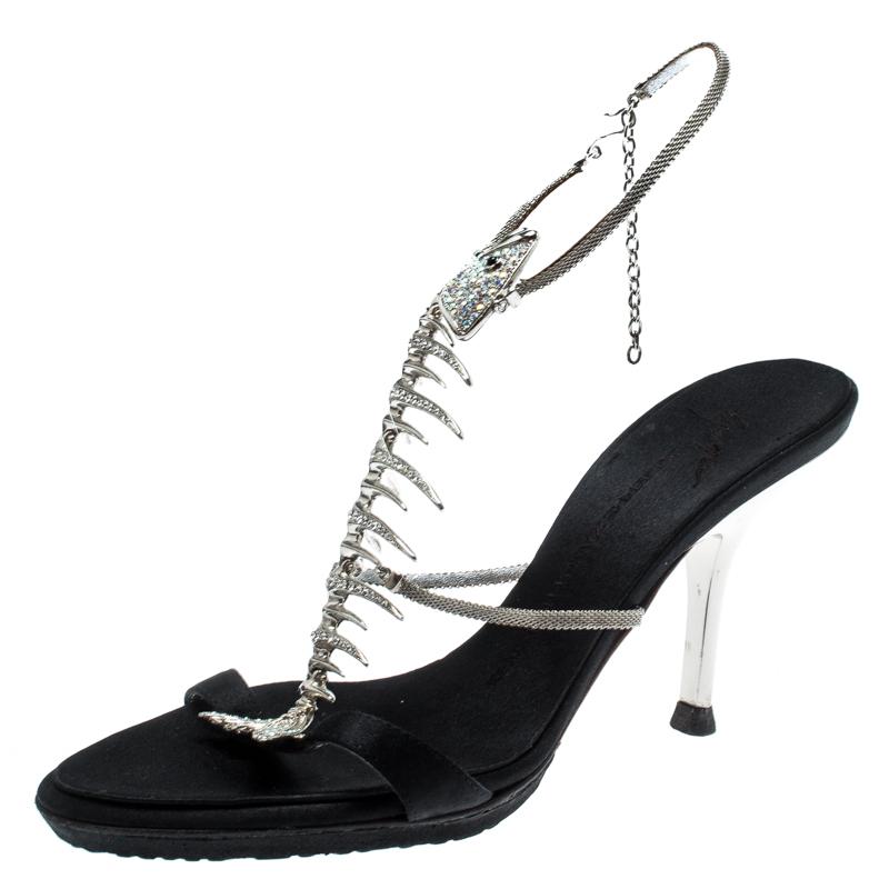 17a59a45cd84f ... Giuseppe Zanotti Black Satin Crystal Encrusted Fish Bone Embellished  Sandals Size 36. nextprev. prevnext