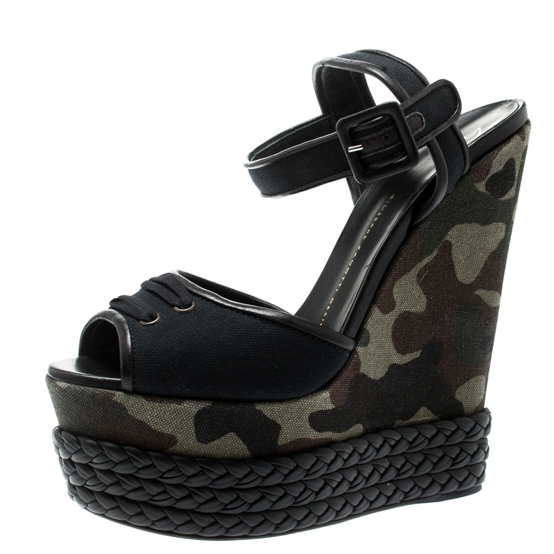 70c00e1e4f3 Buy Giuseppe Zanotti Black Canvas And Leather Camouflage Platform ...