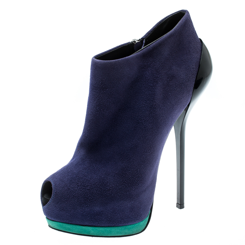 Giuseppe Zanotti Tricolor Suede Lacquered Heel Peep Toe Platform Ankle Boots Size 36