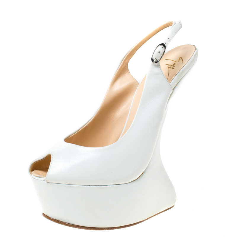 Giuseppe Zanotti White Leather Slingback Heel Less Peep Toe Platform Sandals Size 38.5