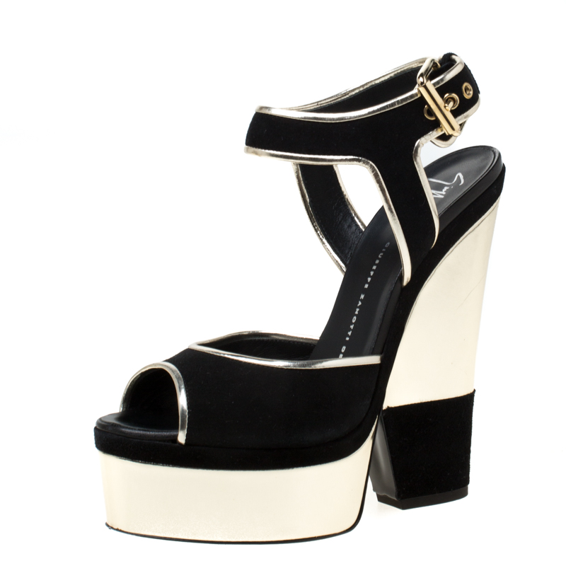 Giuseppe Zanotti Metallic Gold Leather And Black Suede Platform Wedge Sandals Size 38