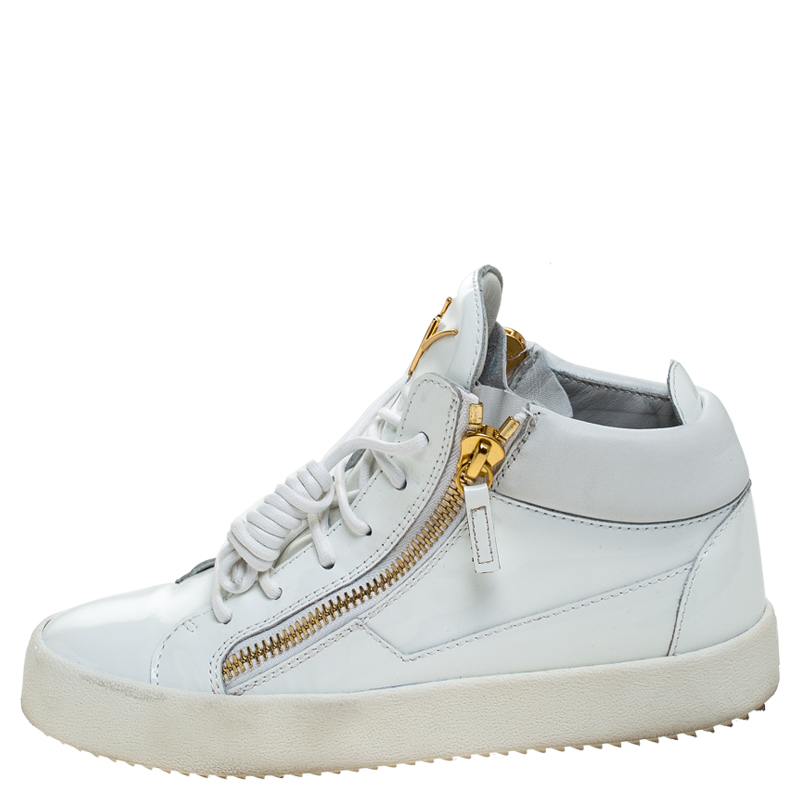 Giuseppe Zanotti Cuir Verni Blanc London High Top Sneakers Taille 39