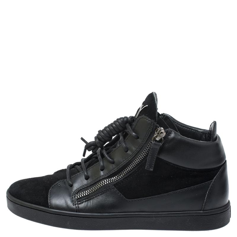 Giuseppe Zanotti Noir En Daim Et Cuir High Top Sneakers Taille 37