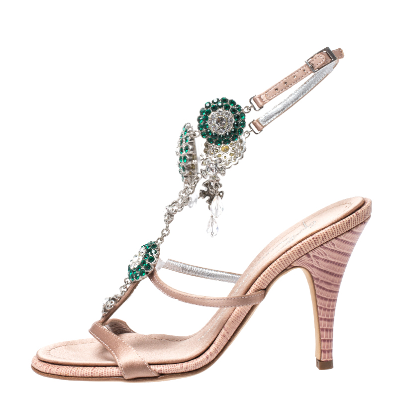 Giuseppe Zanotti Nude Pink Satin and Lizard Embossed Leather Crystal Embellished Ankle Strap Sandals Size 35.5  - buy with discount
