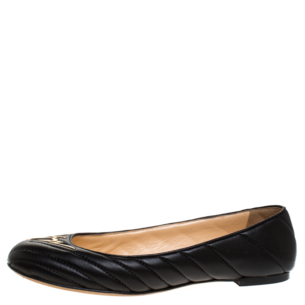 Giuseppe Zanotti Black Quilted Leather Logo Ballet Flats Size 38