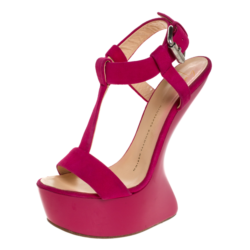 Giuseppe Zanotti Pink Suede T Strap Platform Heel Less Wedge Sandals Size 37.5