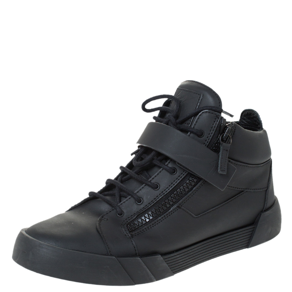Giuseppe Zanotti Black Matte Leather High Top Lace Up Sneakers 44
