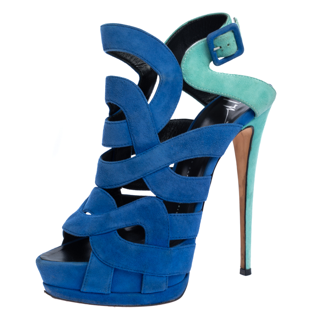 Pre-owned Giuseppe Zanotti Blue Suede Cutout Caged Slingback Sandals Size 40