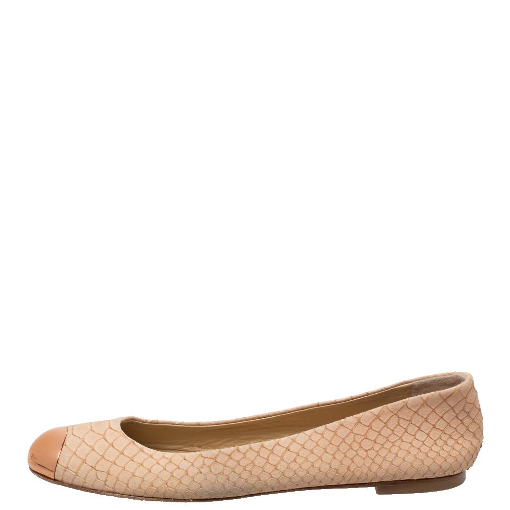 Giuseppe Zanotti Beige Python Embossed Suede Malika Cap Toe Ballet Flats Size 36.5