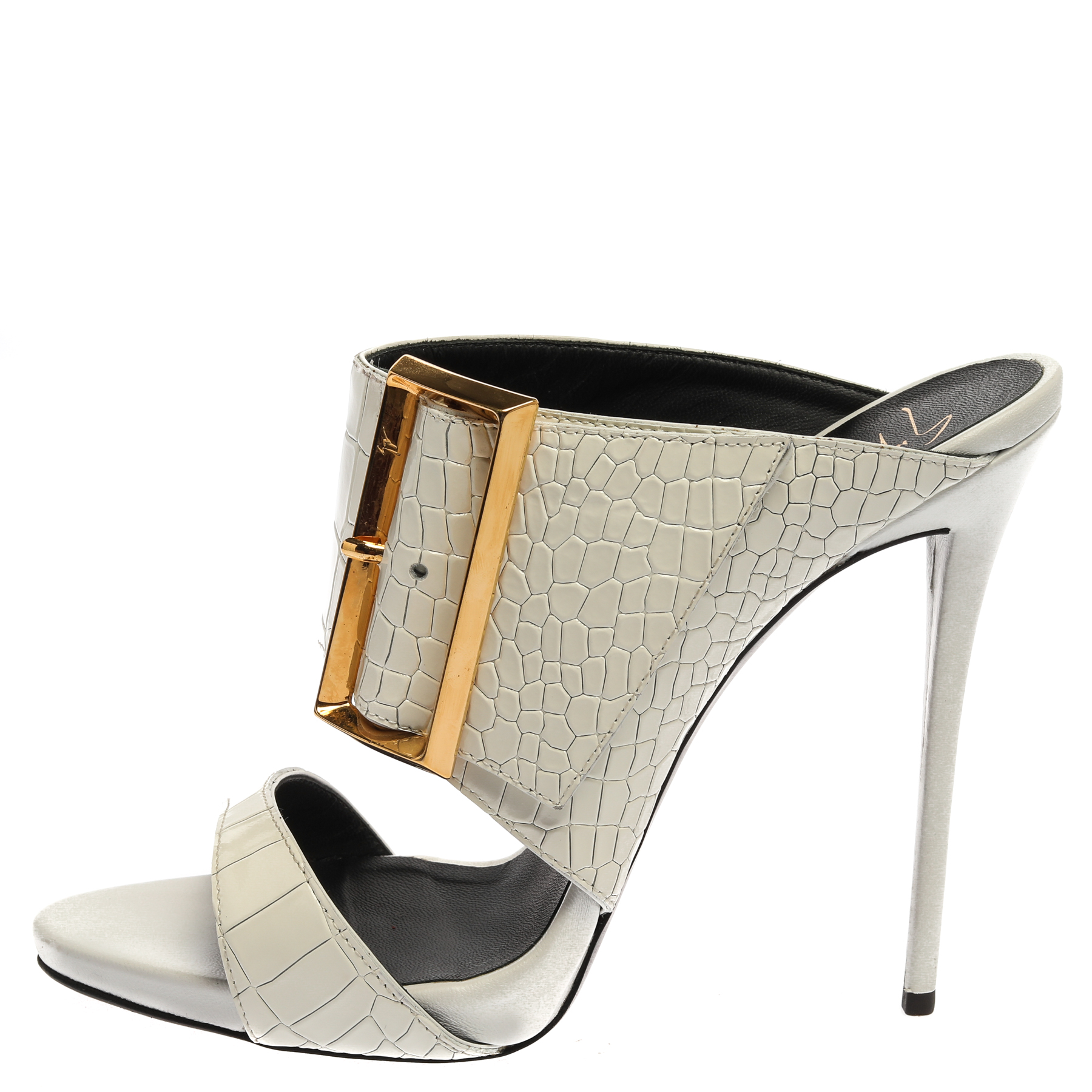 Giuseppe Zanotti White Croc Embossed Leather Beverly Buckle Detail Open Toe Sandals Size 40