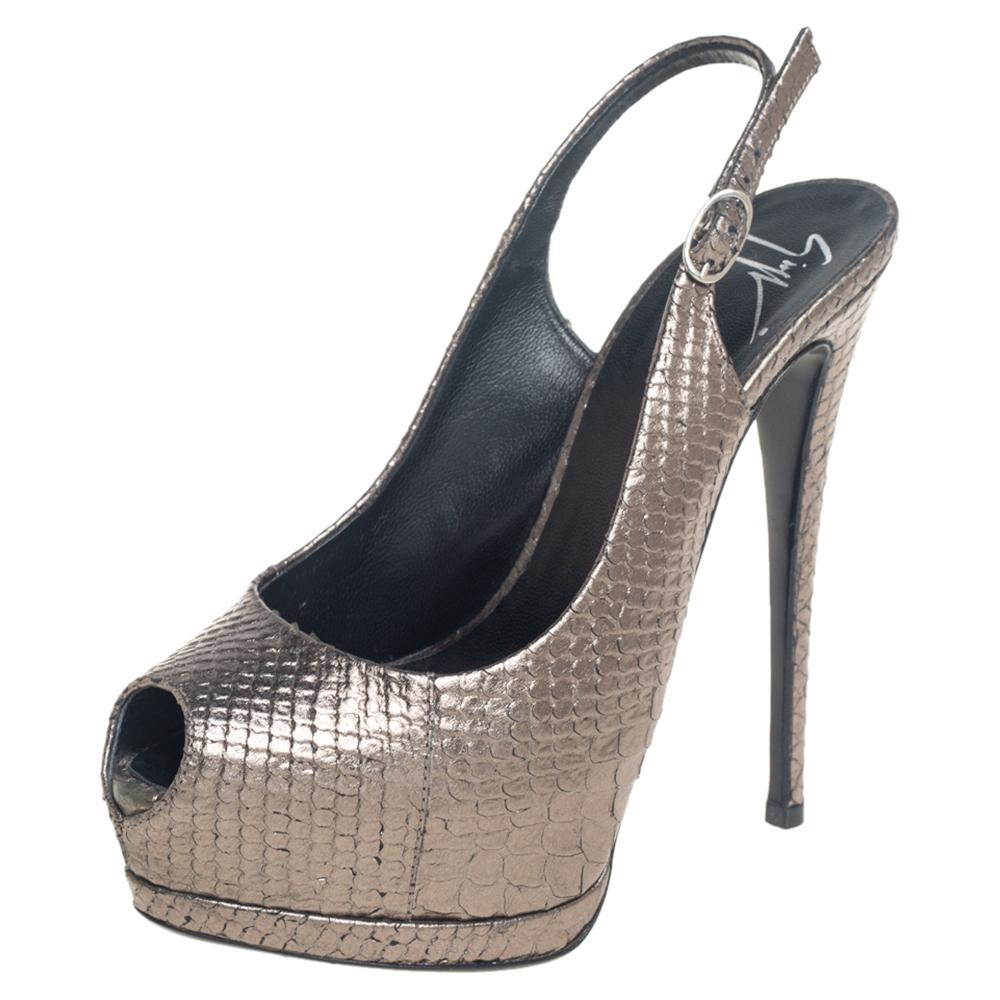 Pre-owned Giuseppe Zanotti Metallic Python Embossed Leather Peep Toe Platform Slingback Sandals Size 36.5