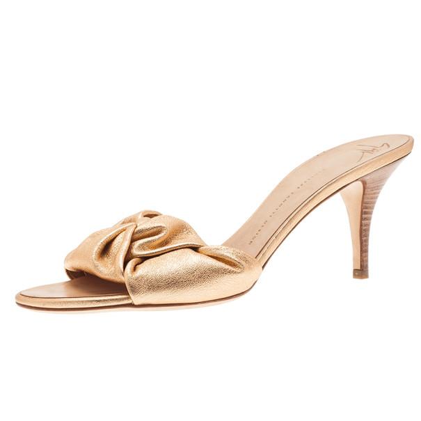 c769614efde4c Buy Giuseppe Zanotti Gold Leather Slides Size 41 5364 at best price | TLC