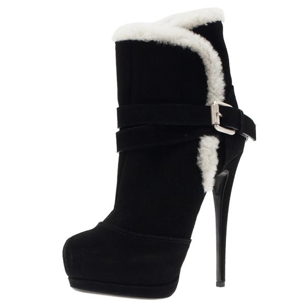 ee062c5822fb6 ... Giuseppe Zanotti Black Suede Fur Trim Ankle Boots Size 37. nextprev.  prevnext