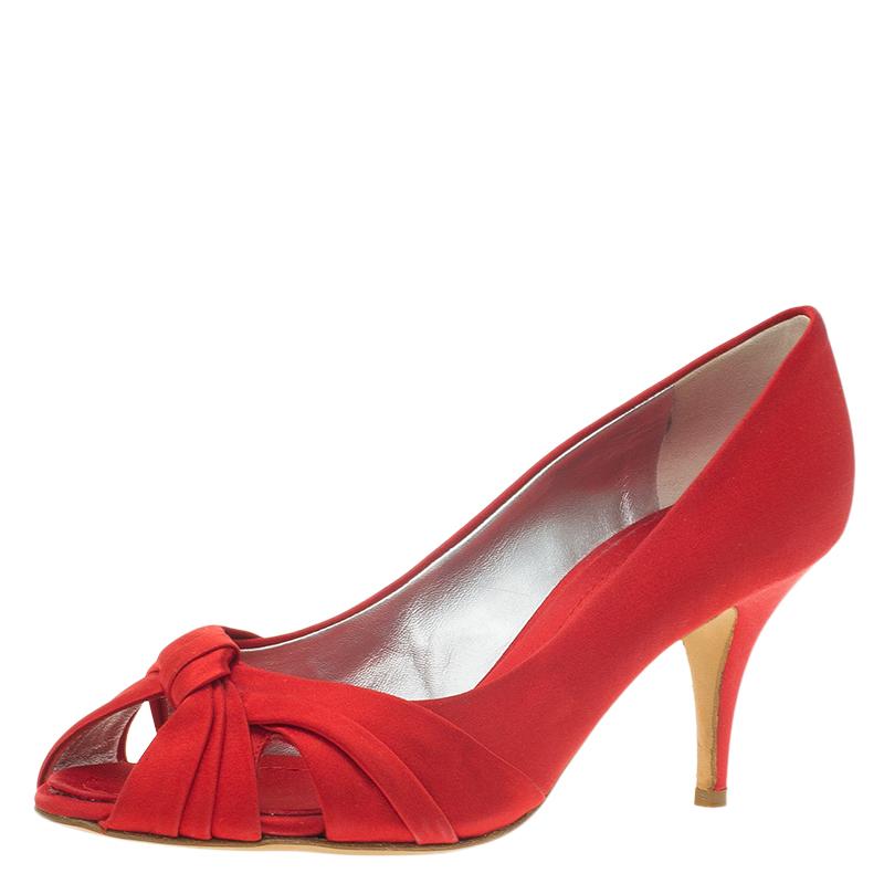 Giuseppe Zanotti Red Satin Criss Cross Peep Toe Pumps Size 38.5