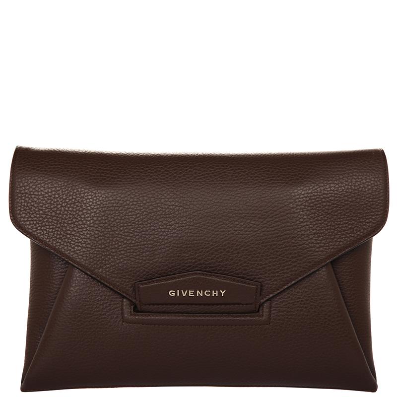 61e44898e805 ... Givenchy Dark Brown Leather Antigona Envelope Clutch. nextprev. prevnext