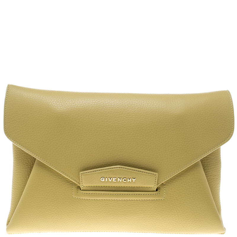 Givenchy Lemon Yellow Leather Medium Envelope Antigona Clutch