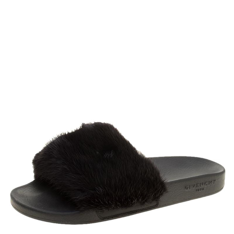 d86931ce6bd5 Buy Givenchy Black Mink Fur Flat Slides Size 40 138238 at best price ...