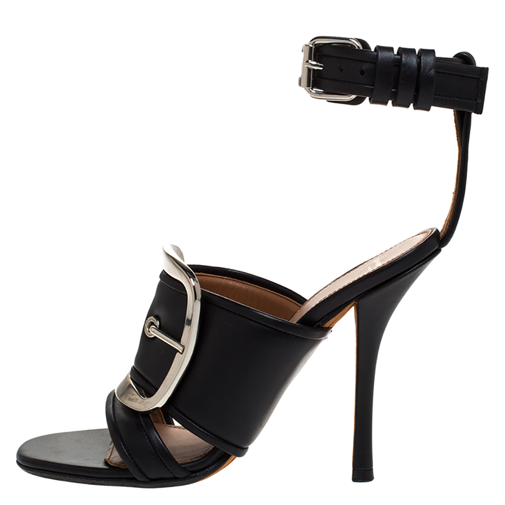 Givenchy Black Leather Runway Ankle Strap Sandals Size
