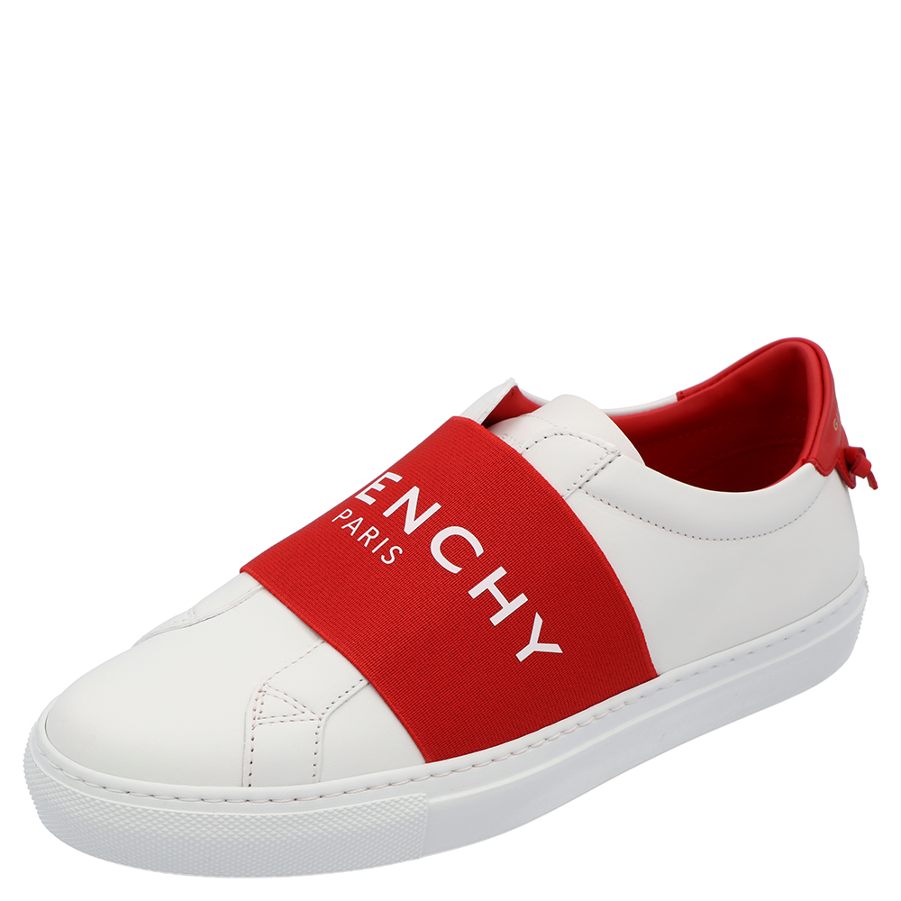 Pre-owned Givenchy White/red Urban Street Logo Sneakers Size Eu 38.5