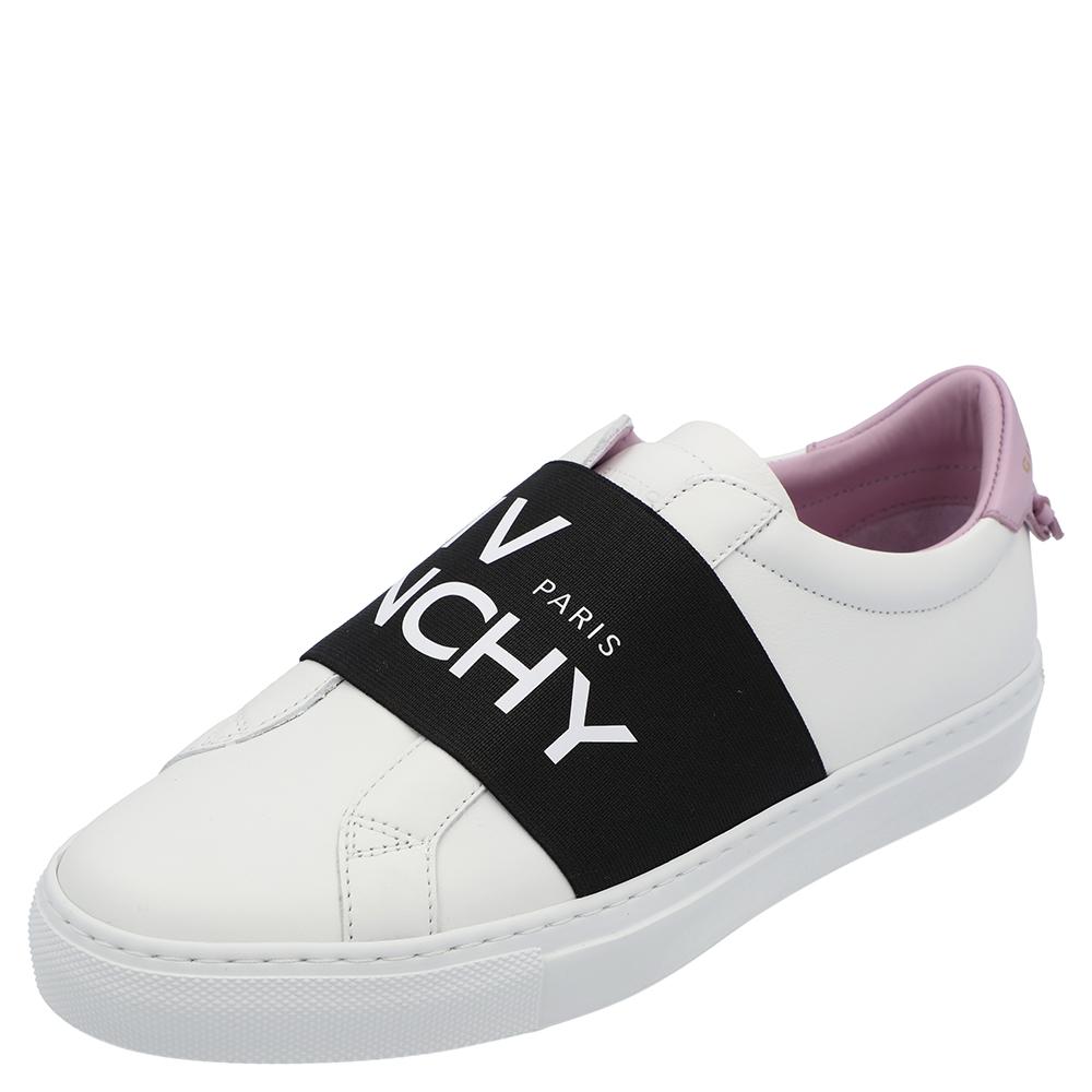Pre-owned Givenchy White/black/purple Urban Street Logo Sneakers Size Eu 36.5