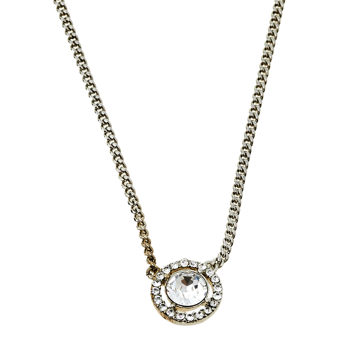 Pre-owned Givenchy Silver Tone Crystal Pendant Chain Necklace