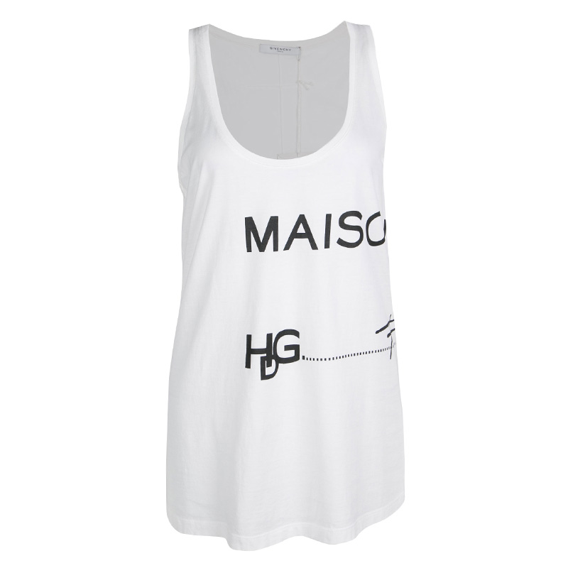 1afe292c9a8f4 Buy Givenchy White Cotton Oversized Maison Tank Top M 138558 at best ...