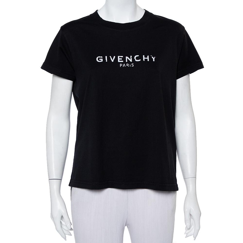 Givenchy Black Cotton Blurred Logo Printed Crewneck T-Shirt XL