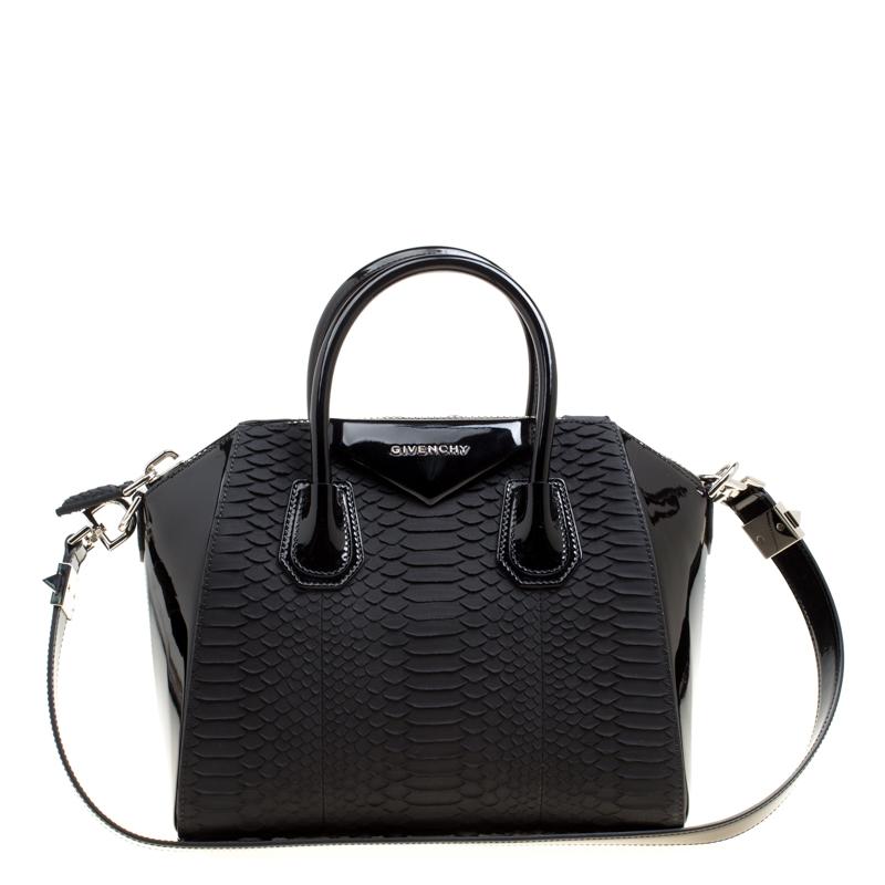 5d98467fb1 Buy Givenchy Black Python and Patent Leather Small Antigona Top ...