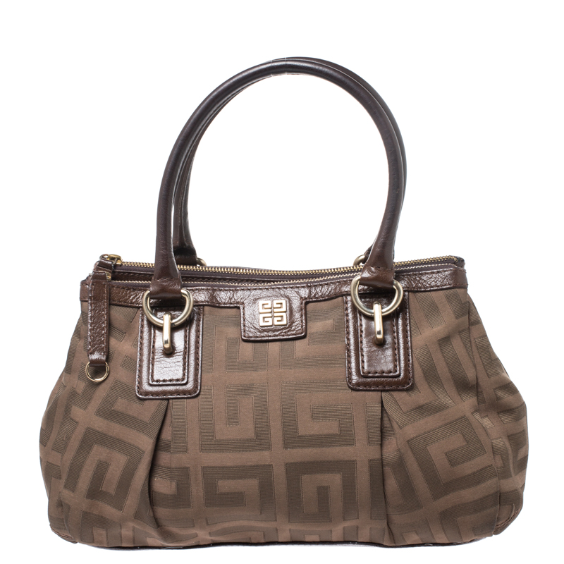 Givenchy Brown Signature Canvas and Leather Satchel