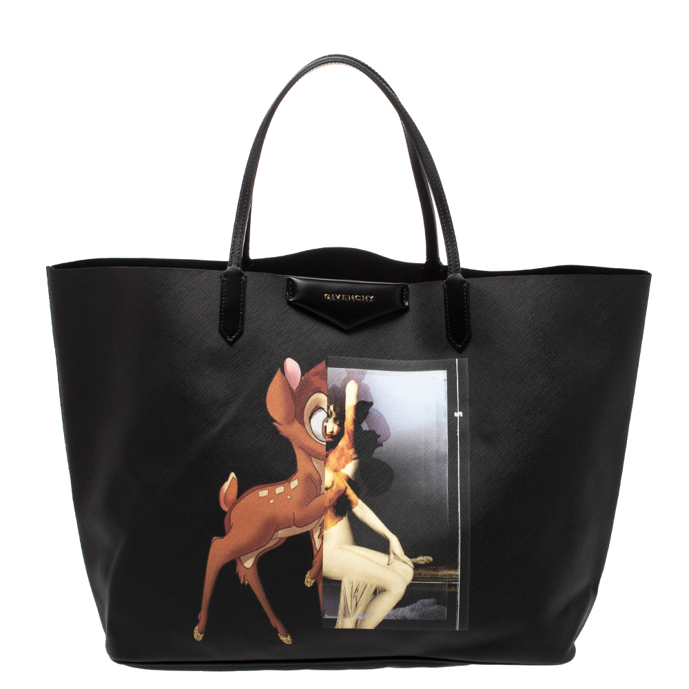 Givenchy Black Bambi Print Coated Canvas and Leather Antigona Shopper Tote