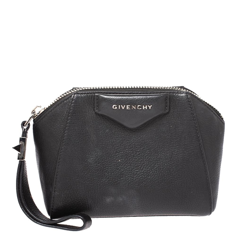 Givenchy Black Leather Antigona Wristlet