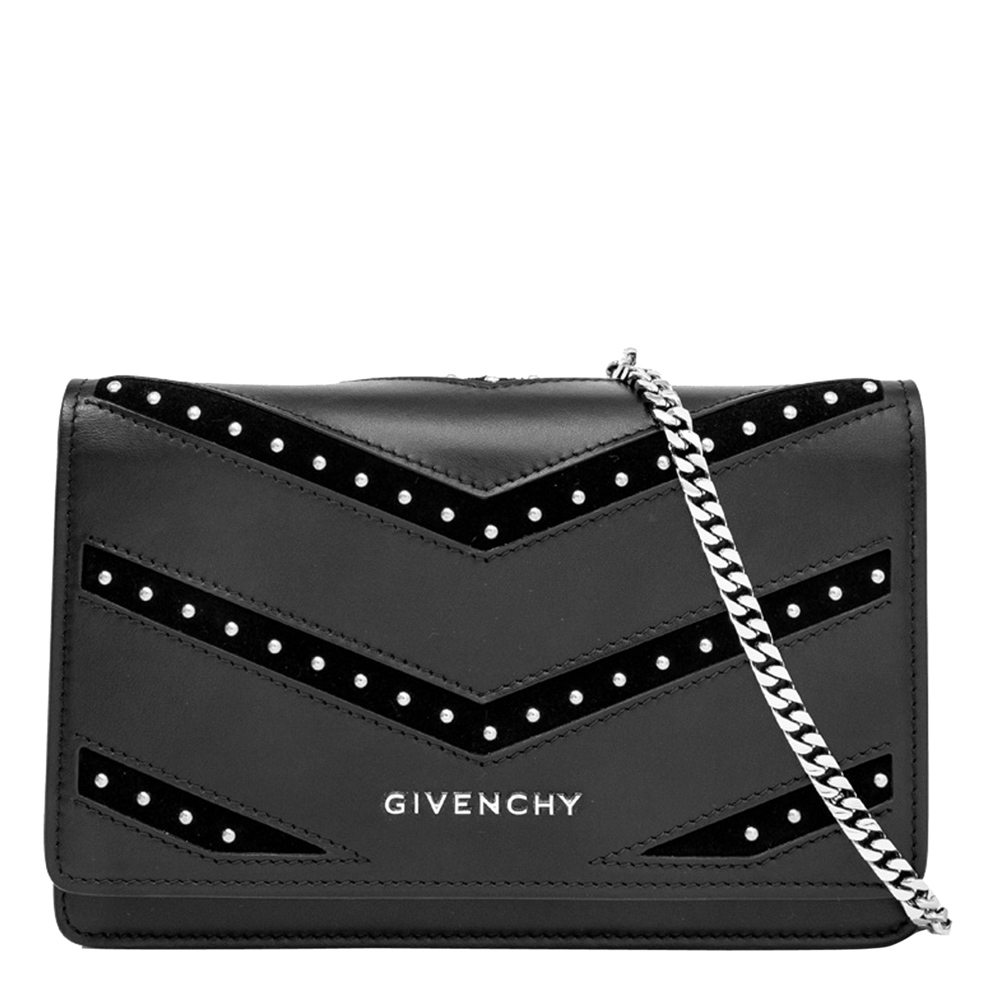 Givenchy Black Leather Pandora Studded Chain Wallet