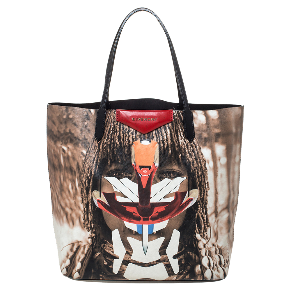 Givenchy Multicolor Tribal Coated Canvas and Leather Antigona Shopper Tote