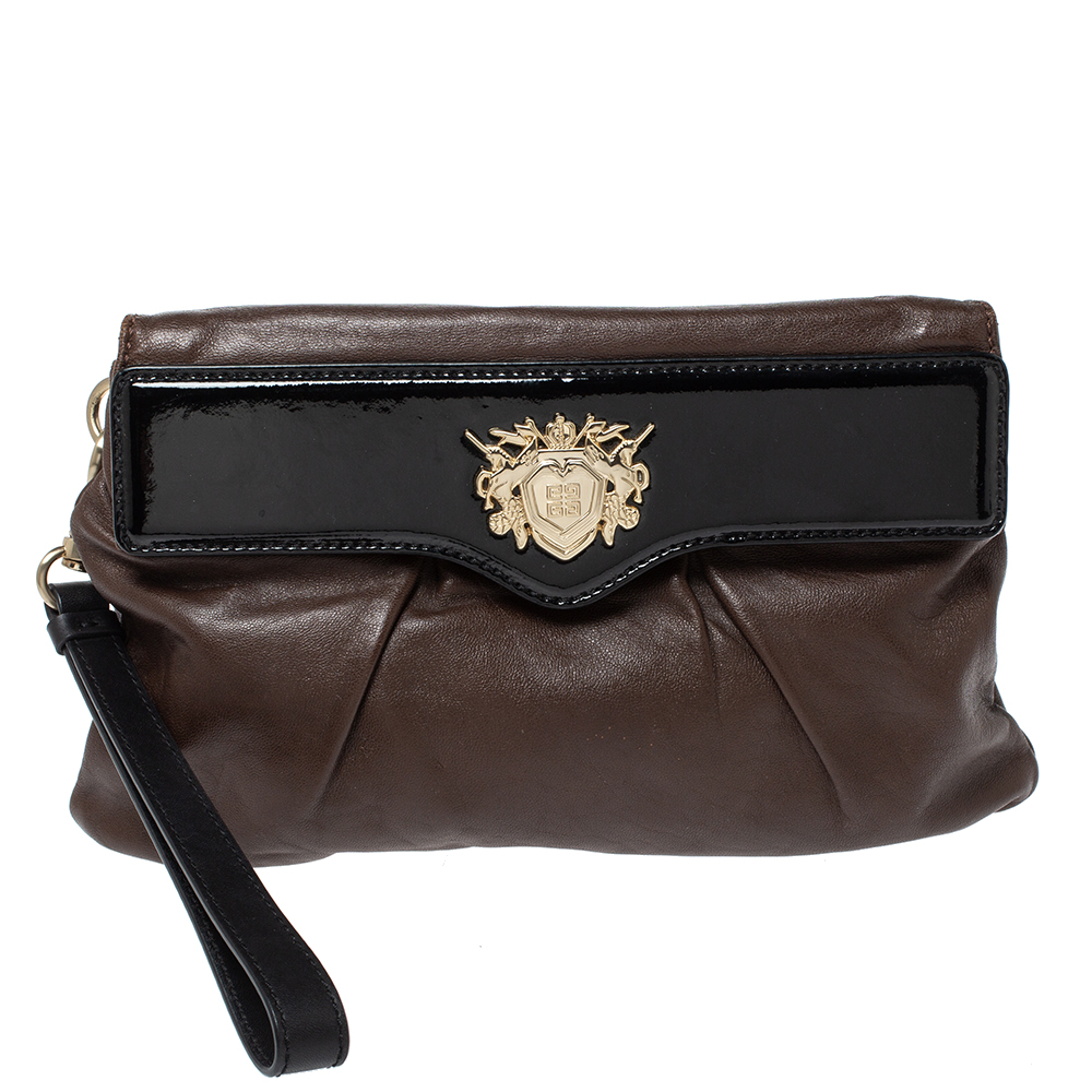 Givenchy Brown/Black Leather Wristlet Clutch