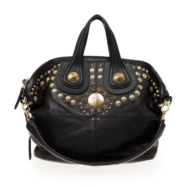 Givenchy Black Leather Medium Studded Nightingale Bag