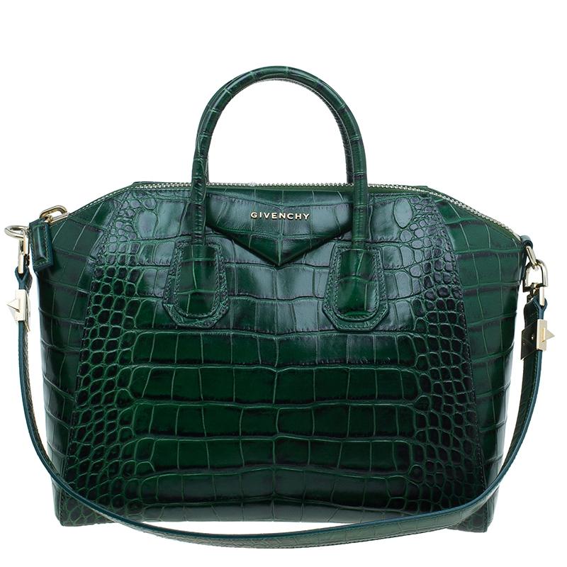 954160eac1175 ... Givenchy Green Croc Embossed Leather Medium Antigona Satchel. nextprev.  prevnext