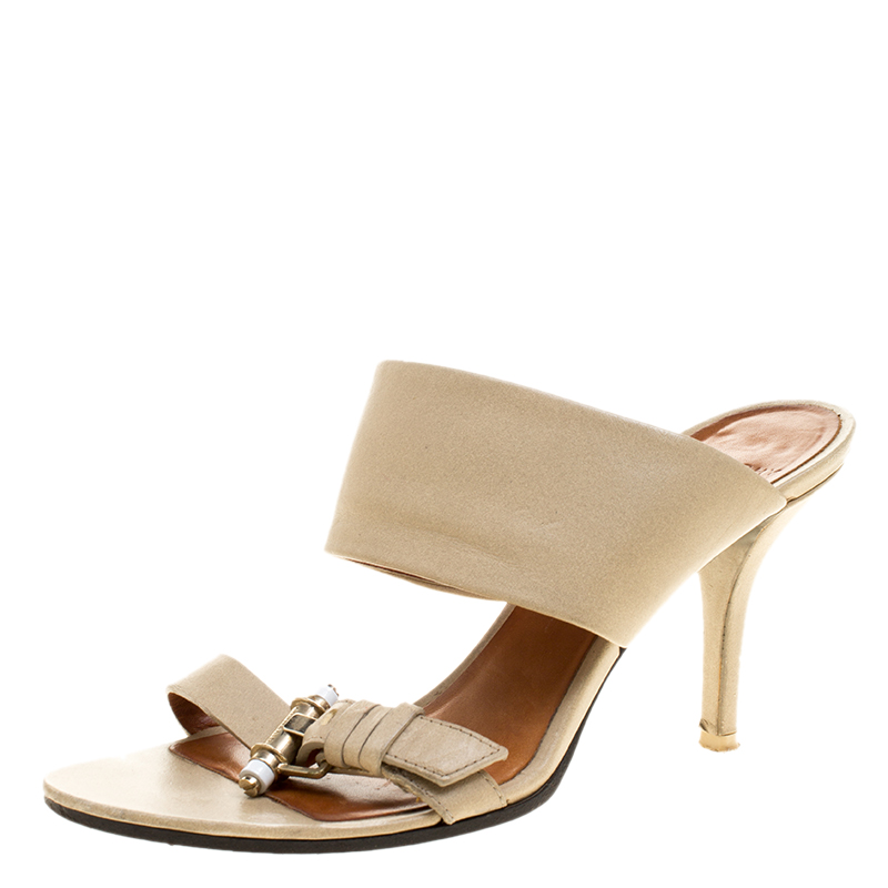 Фото #1: Givenchy Beige Leather Obsedia Slides Size 37