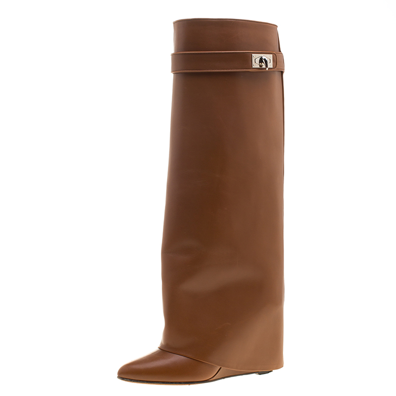 d139d28cb259 Buy Givenchy Brown Leather Shark Lock Wedge Knee High Riding Boots ...