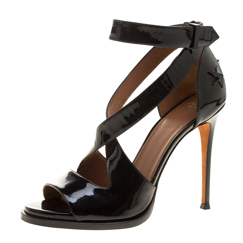 6fb6b34de5b7 ... Givenchy Black Patent Leather Star Studded Cross Ankle Strap Sandals  Size 38.5. nextprev. prevnext