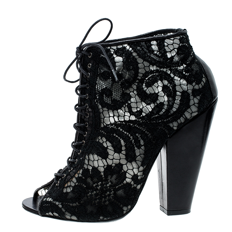 Купить со скидкой Givenchy Black Lace Peep Toe Lace Up Ankle Boots Size 38