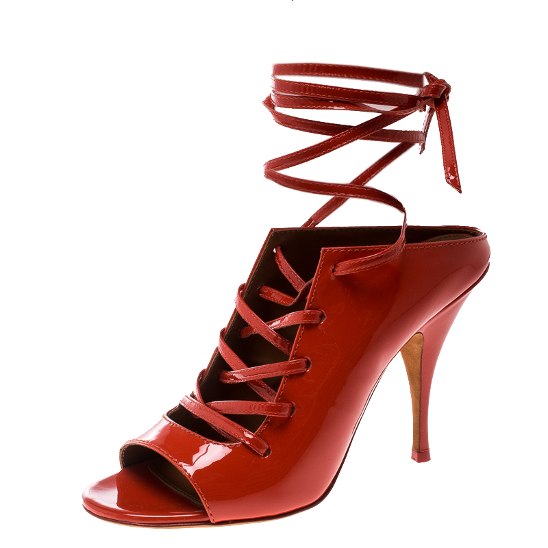 d24c48324d4bd Buy Givenchy Coral Red Patent Leather Lace Up Backless Mule Sandals ...