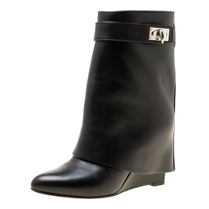48b1a8d60967 ... Givenchy Black Leather Shark Lock Wedge Ankle Boots Size 36.5.  nextprev. prevnext