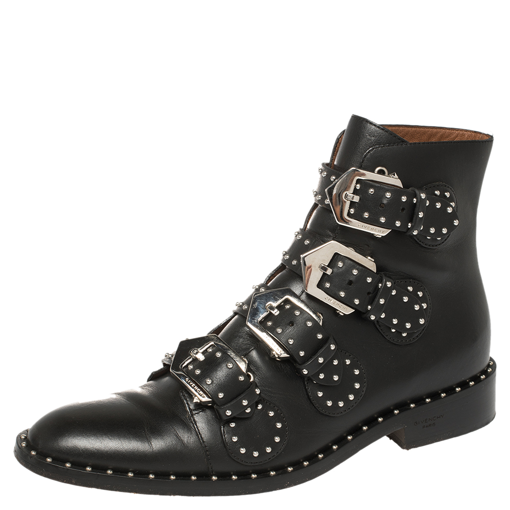 Pre-owned Givenchy Black Leather Multi Strap Studded Ankle Boots Size 38
