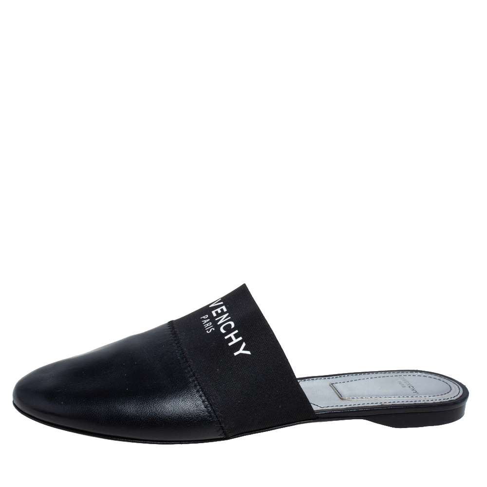 Givenchy Black Leather and Strecth Band Bedford Flat Mules Size 40