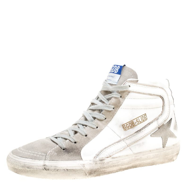 547a027f1e9 ... Golden Goose White Leather And Suede Slide High Top Sneakers Size 41.  nextprev. prevnext