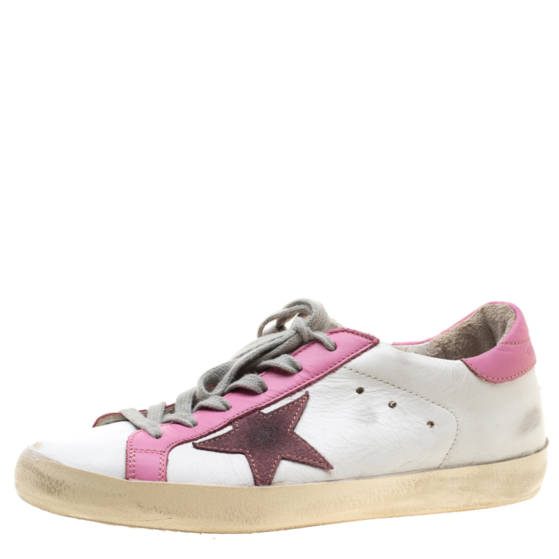 Golden Goose White And Pink Leather