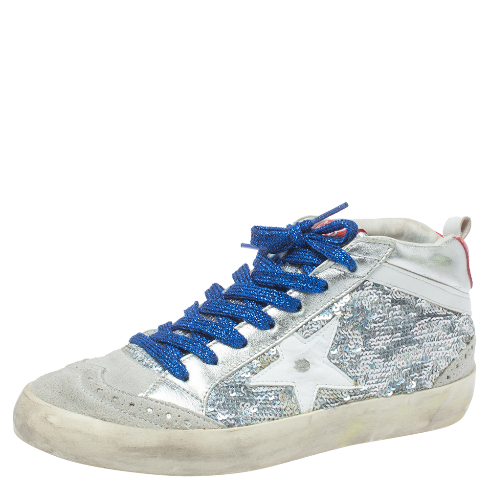 Golden Goose Grey/Silver Sequins Suede Leather Mid Star High Top Sneakers Size 36