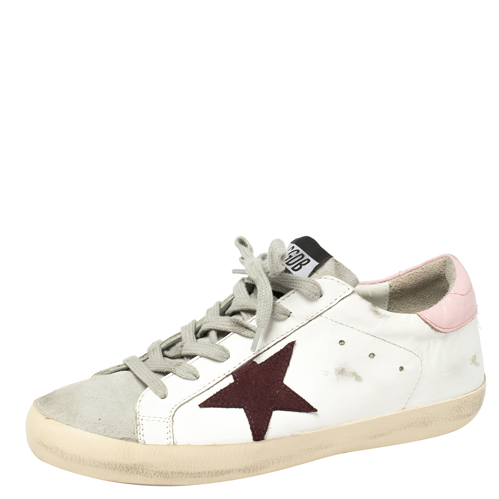 Golden Goose White Leather And Suede Star Superstar Lace Up Sneakers Size 39