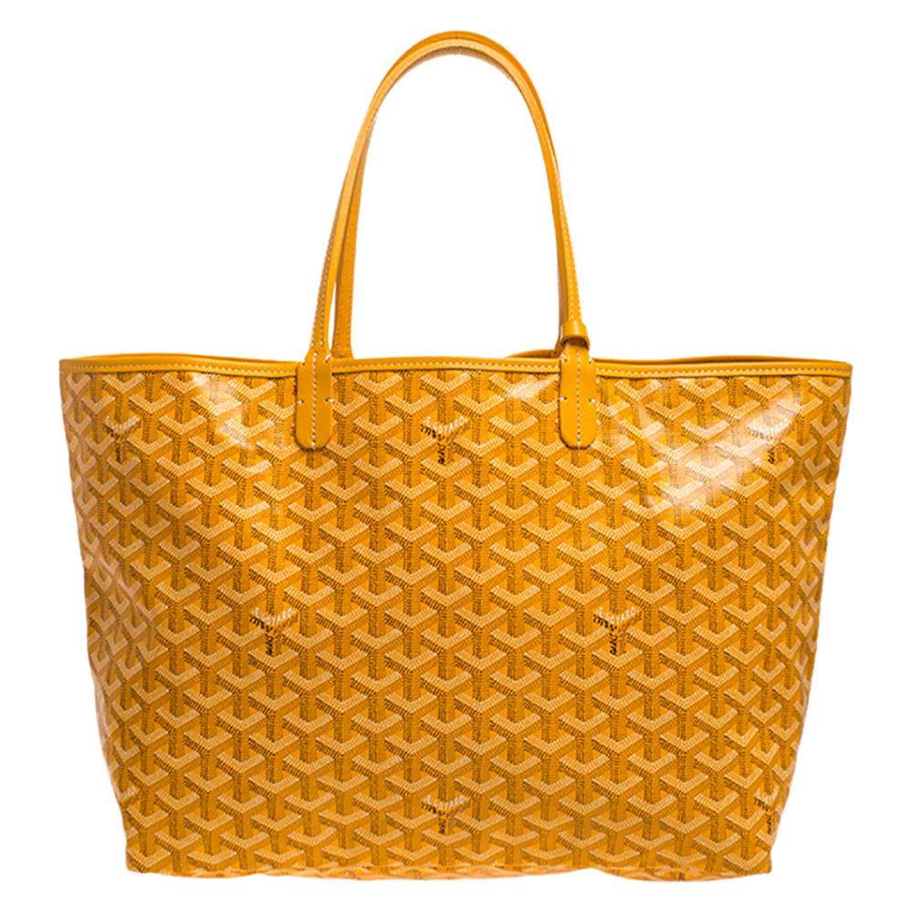 Goyard Yellow Goyardine Coated Canvas St. Louis PM Tote