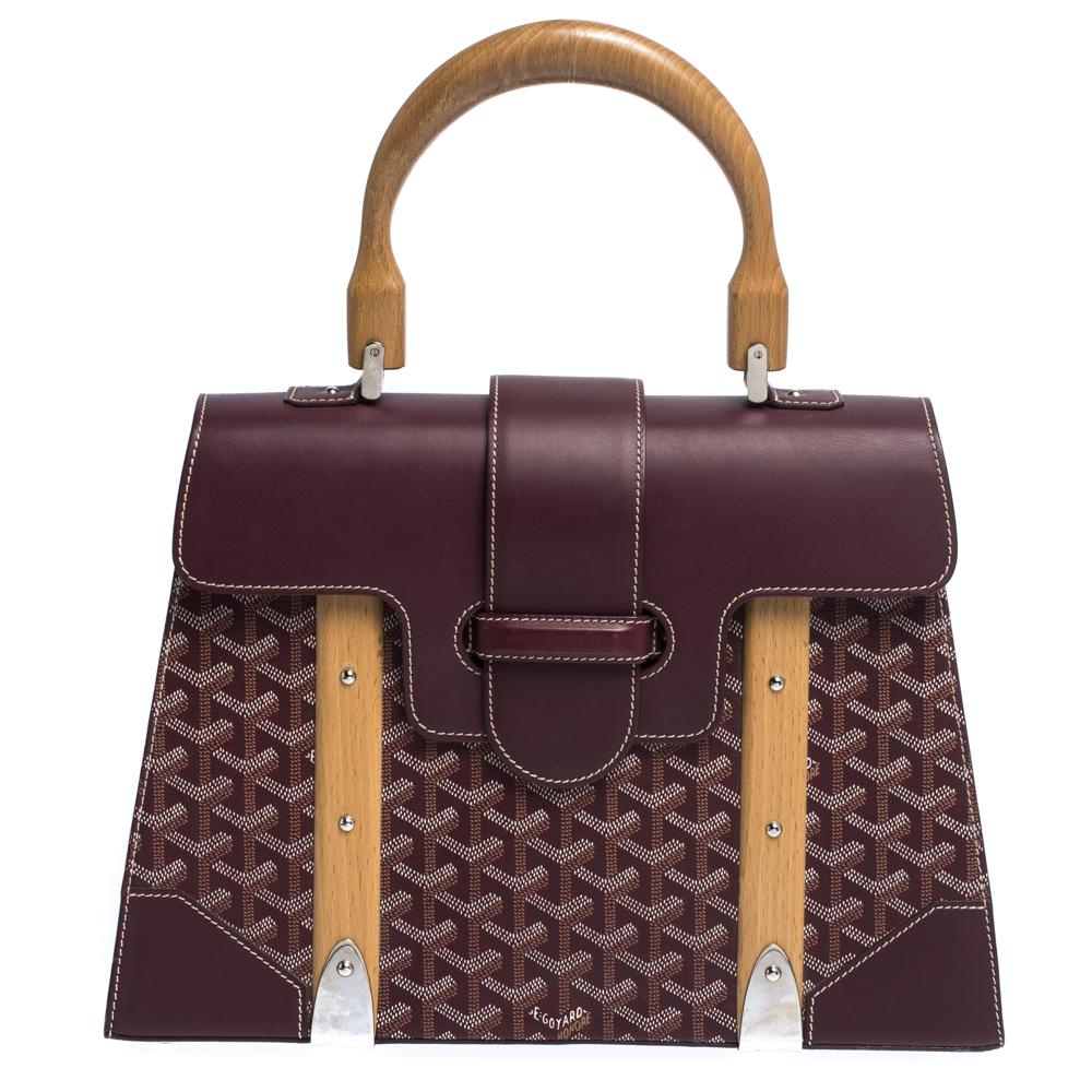 Goyard Burgundy Coated Canvas and Leather MM Saigon Top Handle Bag